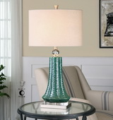 Gosaldo Textured Teal Table Lamp - LUT2427