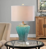 Valtorta Blue-Green Glass Table Lamp - LUT2489