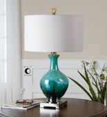 Yvonne Green Blue Glass Table Lamp  - LUT6987