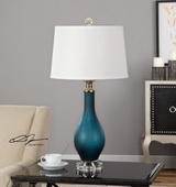 Shavano Blue Glass Table Lamp - LUT2533