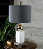 Dantoni White Alabaster Table Lamp - LUT2579