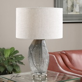 Stazzona Crackled Gray Glass Lamp - LUT2659