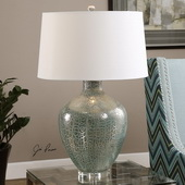 Zumpano Crackled Gray Table Lamp - LUT2665