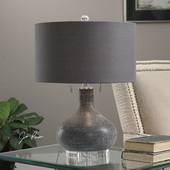 Canelo Distressed Black Glass Lamp - LUT2727