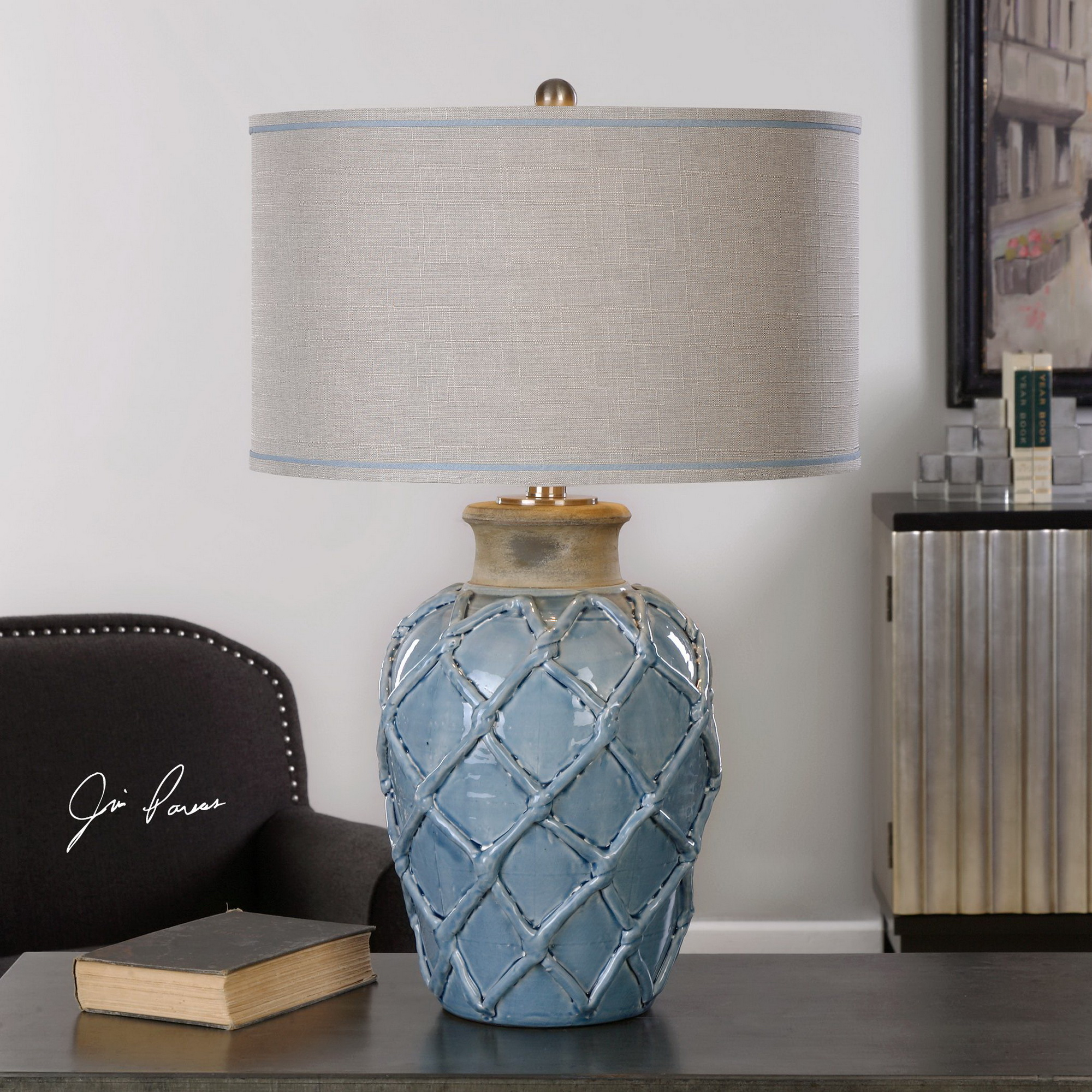 the cabinet clockway parterre pale blue table lamp 27139
