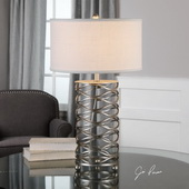 Serpentine Burnished Silver Lamp