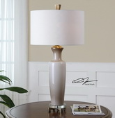 Consuela Taupe Gray Glass Table Lamp  - LUT7007