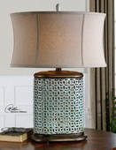 Rosignano Crackled Blue Table Lamp  - LUT2954