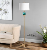 Cavaillon Blue-Green Glass Floor Lamp - LUT2747
