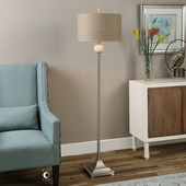 Crisfield Ivory Marble & Nickel Floor Lamp - LUT2749