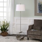 Loutre Brushed Nickel Floor Lamp