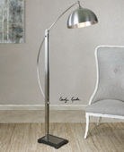Malcolm Brushed Nickel Floor Lamp - LUT2771