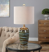 Laurendine Bronze Stripes Table Lamp - LUT2871