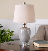 Ovidius Mini Crackle Gray Table Lamp - LUT2929