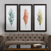 Tricolor Leaves Abstract Art Set of 3