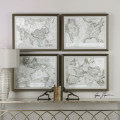 World Maps Framed Prints Art Set of 4