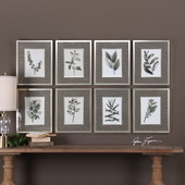 Sepia Gray Leaves Prints Set of 8 - LUT6437