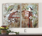 Birds In A Cage Canvas Art  - LUT7351