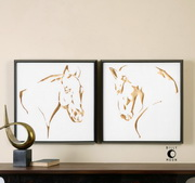 Golden Horses Framed Art S/2 - LUT2995