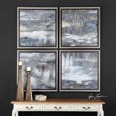 Shades Of Gray Hand Painted Art Set of 4 - LUT6481