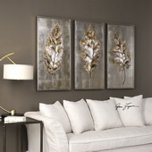 Champagne Leaves Art Set of 3
