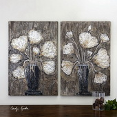 Clear Water Stems Floral Art Set of 2