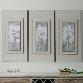 Triptych Trees Hand Painted Art Set of 3 - LUT6543