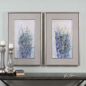 Indigo Florals Framed Art Set of 2