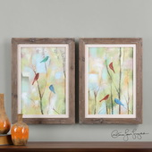 Birds Of Spring Hand Painted Art S/2 - LUT3129
