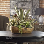 Salar Succulents In Teak Bowl - LUT3187