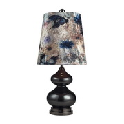 Grey Glass And Black Nickle Table Lamp - MEK2188