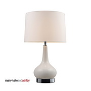 White & Chrome Table Lamp - MEK2230