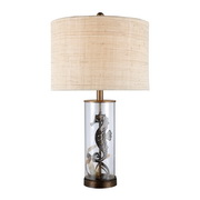 Bronze And Clear Glass Table Lamp - MEK2467