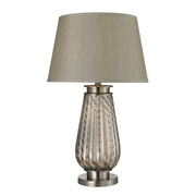 Smoked Glass & Brushed Steel Table Lamp - MEK2610