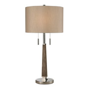 Wood & Polished Nickel Table Lamp - MEK2614