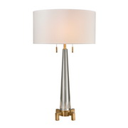 Clear, Aged Brass Table Lamp - MEK2733