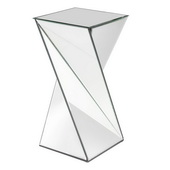 Designer Aries Twisted Mirrored End Table - MHE4602