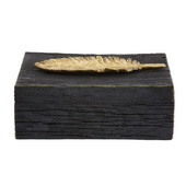 Designer Rustic Faux Wood Box With Gold Feather Accent - MHE4727