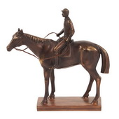Designer Bronze Jockey And Racehorse Sculpture - MHE4756