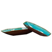 Designer Sea Blue W/ Pewter Bottoms Ceramic Trays  - MHE4788