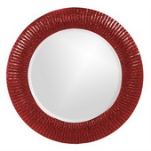Designer Bergman Red Small Round Mirror - MHE3592