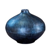Designer Arctic Blue Lacquered Wood Vase - Medium - MHE4812