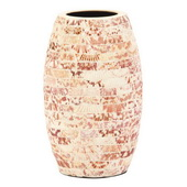 Designer Cylindrical Ceramic Vase With Natural Seashells Small - MHE4927