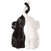 Designer Elephant Love Black & White Sculpture - MHE5037