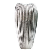 Designer Ribbed Electroplated Ceramic Vase Tall - MHE4850