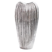 Designer Ribbed Electroplated Ceramic Vase Medium - MHE4851