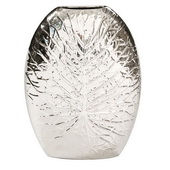 Designer Metallic Silver Crackled Leaf Vase - Large - MHE4843