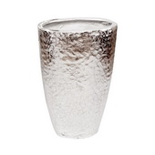 Designer Hammered Silver Metal Tapered Vase  - MHE4893