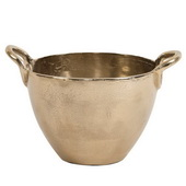 Designer Aluminum Handled Bowl In Champagne Gold - Small - MHE4873