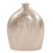 Designer Textured Flask Vase In Bright Silver - MHE4972